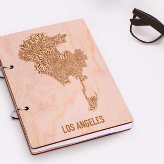 """Блокнот в деревянной обложке """"Los Angeles"""""""