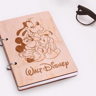"""Блокнот в деревянной обложке """"Walt Disney"""""""