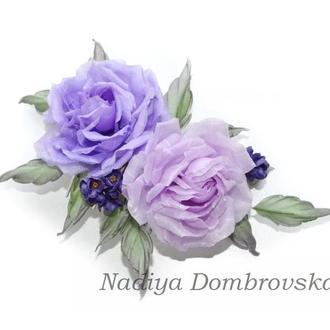 Гребешок для волос розами и цветами сирени