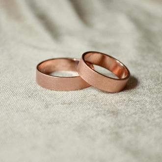 Медные матовые обручальные кольца