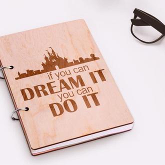 """Блокнот в деревянной обложке """"DREAM"""""""