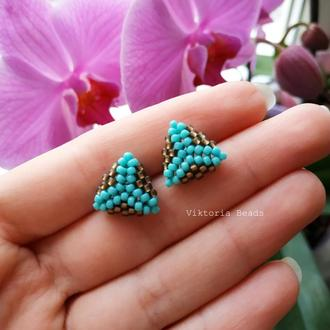 Голубые с бронзой сережки гвоздики из бисера, пуссеты, мини серьги