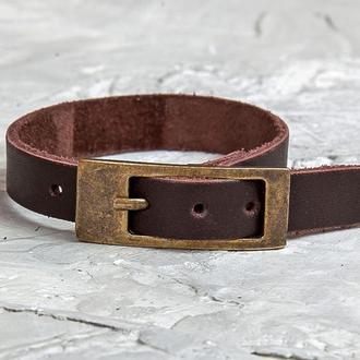 Коричневый кожаный браслет тонкий элегантный код 8101