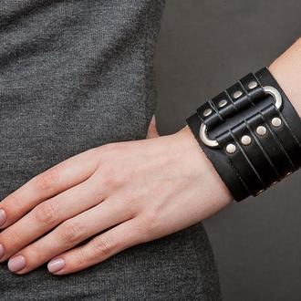 Черный овальный кожаный браслет код 3460