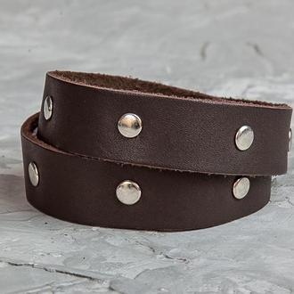 Коричневый кожаный браслет с металлическими стальными вставками код 8091