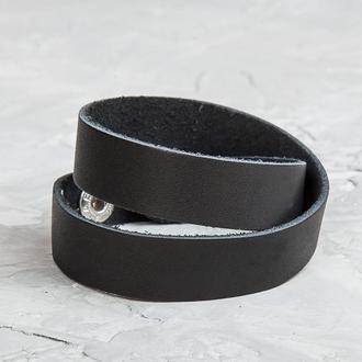 Черный тонкий кожаный браслет в два оборота код 8086