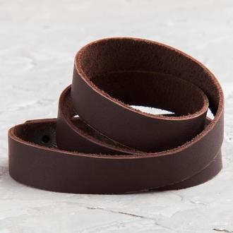 Коричневый тонкий кожаный браслет в три оборота код 8085