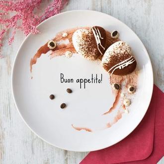 """Тарелка с надписью """"Приятного аппетита"""" на итальянском языке"""