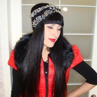 Вязаная повязка на голову чалма со стразами - Королева ночь