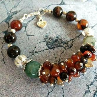 """Женский браслет """"Тросниковый сахар"""" из натуральных камней. Подарок девушке."""