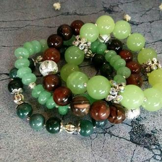 Набор из четырех браслетов. Браслет из натуральных камней. Подарок девушке.