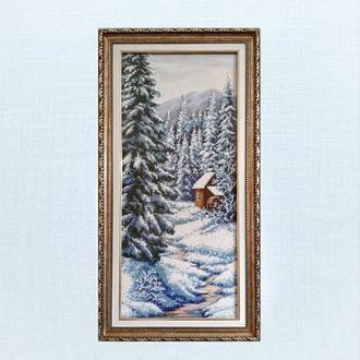 """Картина. Вышивка бисером. """"Зима"""""""