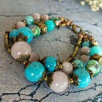 """Женский трехрядный браслет """"Краски Индии"""" из натуральных камней. Подарок девушке."""