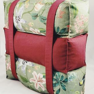 Подушка прямоугольная 3шт. Диванная подушка, валик, кирпичики, трансформер. Птицы колибри.
