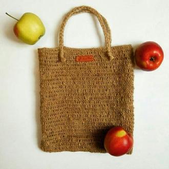 Эко торба. Эко сумка. Вязаная сумка джут. Женская сумка