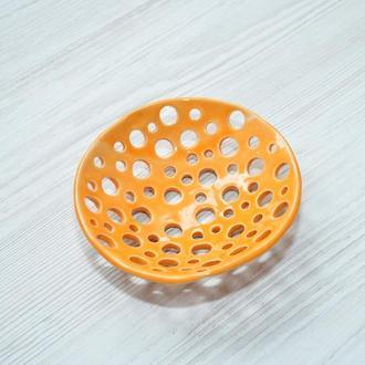 Мыльница керамическая круглая оранжевая