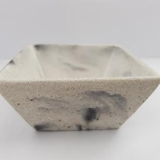 Пиала из бетона, в стиле Loft - белая с черным