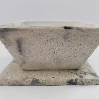 Набор пиала и подставка под пиалу, сделанные вручную из бетона
