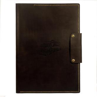Мужская кожаная папка для документов А4 Truck (Подарок водителю - дальнобойщику) - коричневый