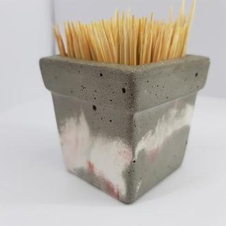 Подставка для зубочисток из бетона, в стиле Loft - серый с белым и красным