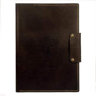 Кожаная папка - органайзер для семейных документов Family Tree (Формат А4) - Коричневая