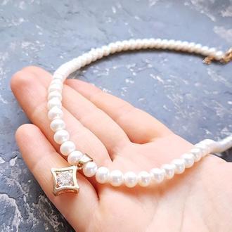 Кольє з натуральними білими перлами та підвіскою з цирконом колье из жемчуга подарок жене 8 марта