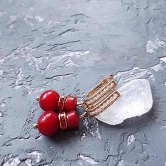 Сережки з натуральними коралами у позолоті серьги с кораллами подарок на 8 марта жене