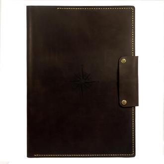 Кожаная папка для морских документов (Компас) А4 - Отличный подарок моряку из натуральной кожи