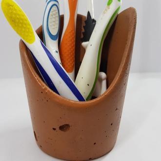 Подставка-стакан для зубных щеток из бетона - оранжевый