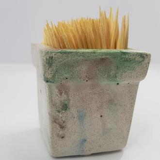 Подставка для зубочисток из бетона, в стиле Loft - мультицвет