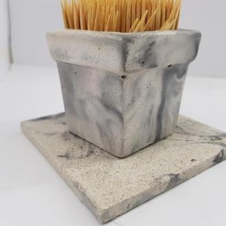 Набор стакан для зубочисток с подставкой из бетона, ручной работы, в стиле Loft - белый с черным