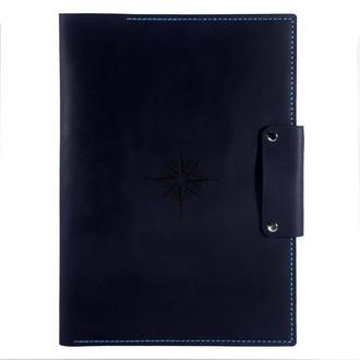 Кожаная папка для морских документов (Компас) А4 - Отличный подарок моряку из кожи - Темно-синий
