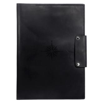 Кожаная папка для морских документов (Компас) А4 - Отличный подарок моряку из кожи - Чёрный