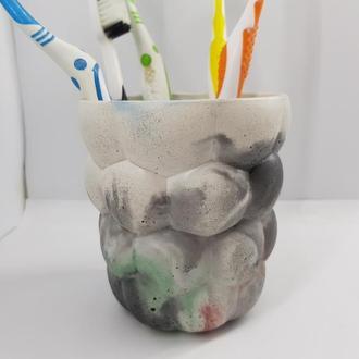 Подставка-стакан для зубных щеток из бетона, стиль Loft