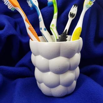 Подставка-стакан для зубных щеток из бетона,стиль Loft - белая