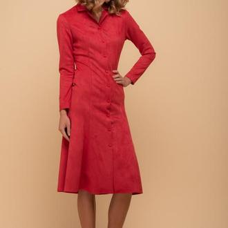 10242 Платье Годе с длинным рукавом красное