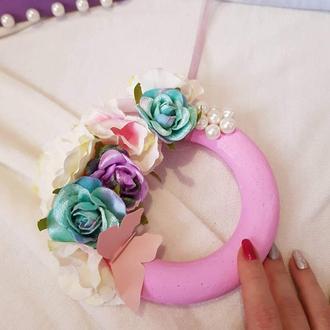 Декоративный цветочный венок на стену /дверь - нежно-розовый