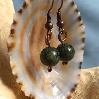 """Серьги """"Зеленые"""" с натуральным камнем змеевик"""