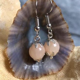 """Сережки рожеві """"Кварц"""" з натуральним каменем"""