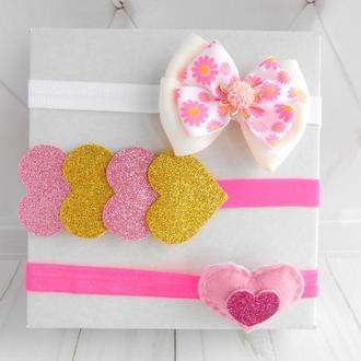Набор розовых повязок девочке на годик Украшение для волос на Валентина Подарок малышке на крестины