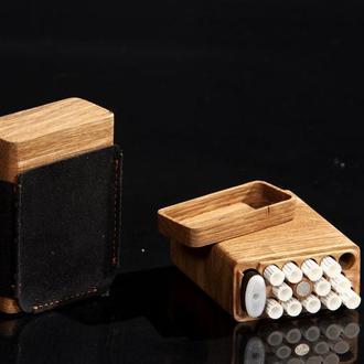 Портсигары из дерева на 13 сигарет с нишей под зажигалку BIC