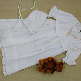 Комплект (платье и шапочка) для крестин