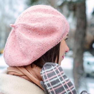 Розовый берет с пайетками, женский вязаный берет к весне