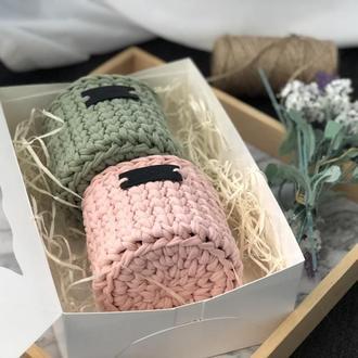 Набор вязаных корзин в подарочной коробочке