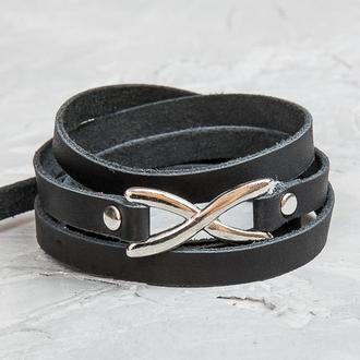 Черный тонкий кожаный браслет в пять оборотов с фигурным замком код 8063