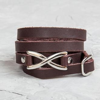 Коричневый тонкий кожаный браслет в пять оборотов с фигурным замком код 8063