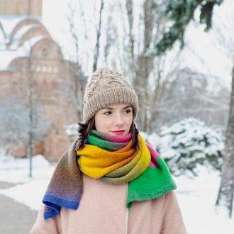 Радужный вязаный шарф из шерсти, желтый зимний шарф, подарок девушке