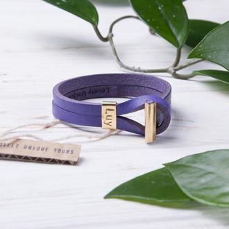 Кожаный браслет LUY N.6 цвет аметистовый. Браслет из натуральной кожи