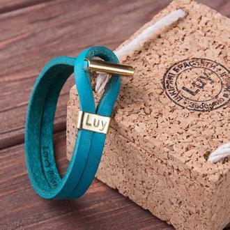 Кожаный браслет LUY N.6 цвет бирюза. Браслет из натуральной кожи
