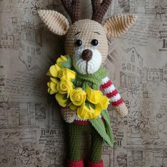 Игрушка Олень, вязаная игрушка. Подарок на Новый год и Рождество. Подарок ребенку, новорожденному